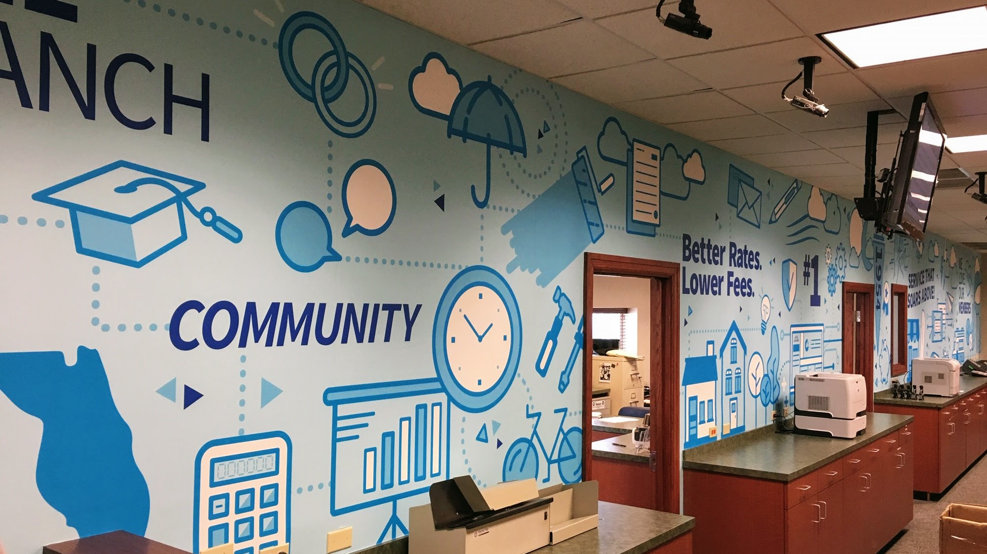 Wall wrap in credit union lobby - signgeek Wall Wraps, Custom Wallpapers