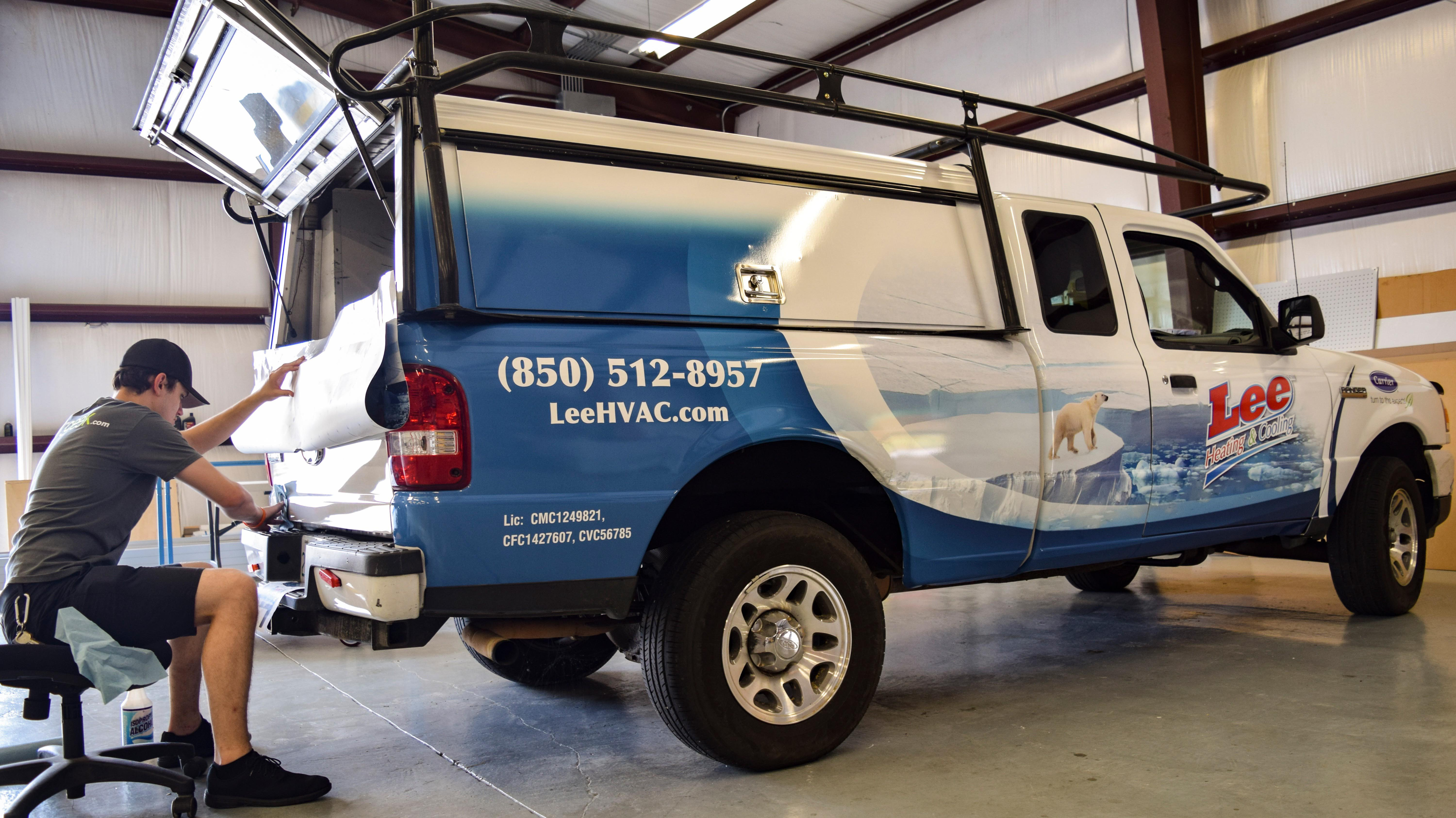 Fleet wrap on utility truck - fleet graphics by signgeek