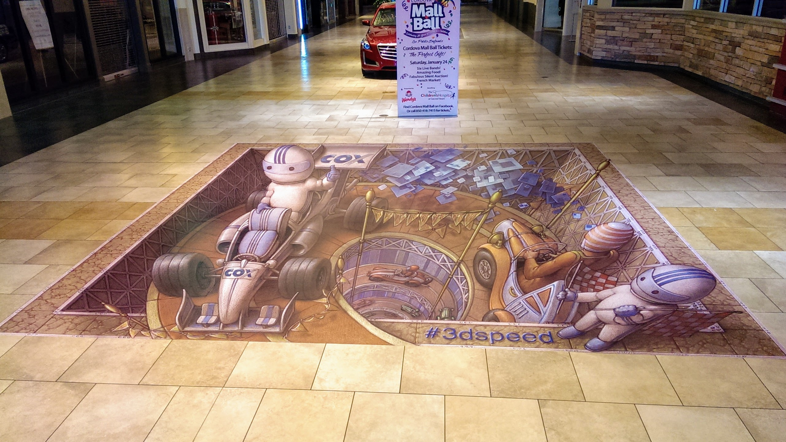 Printed floor graphics in mall - signgeek Environmental Graphics