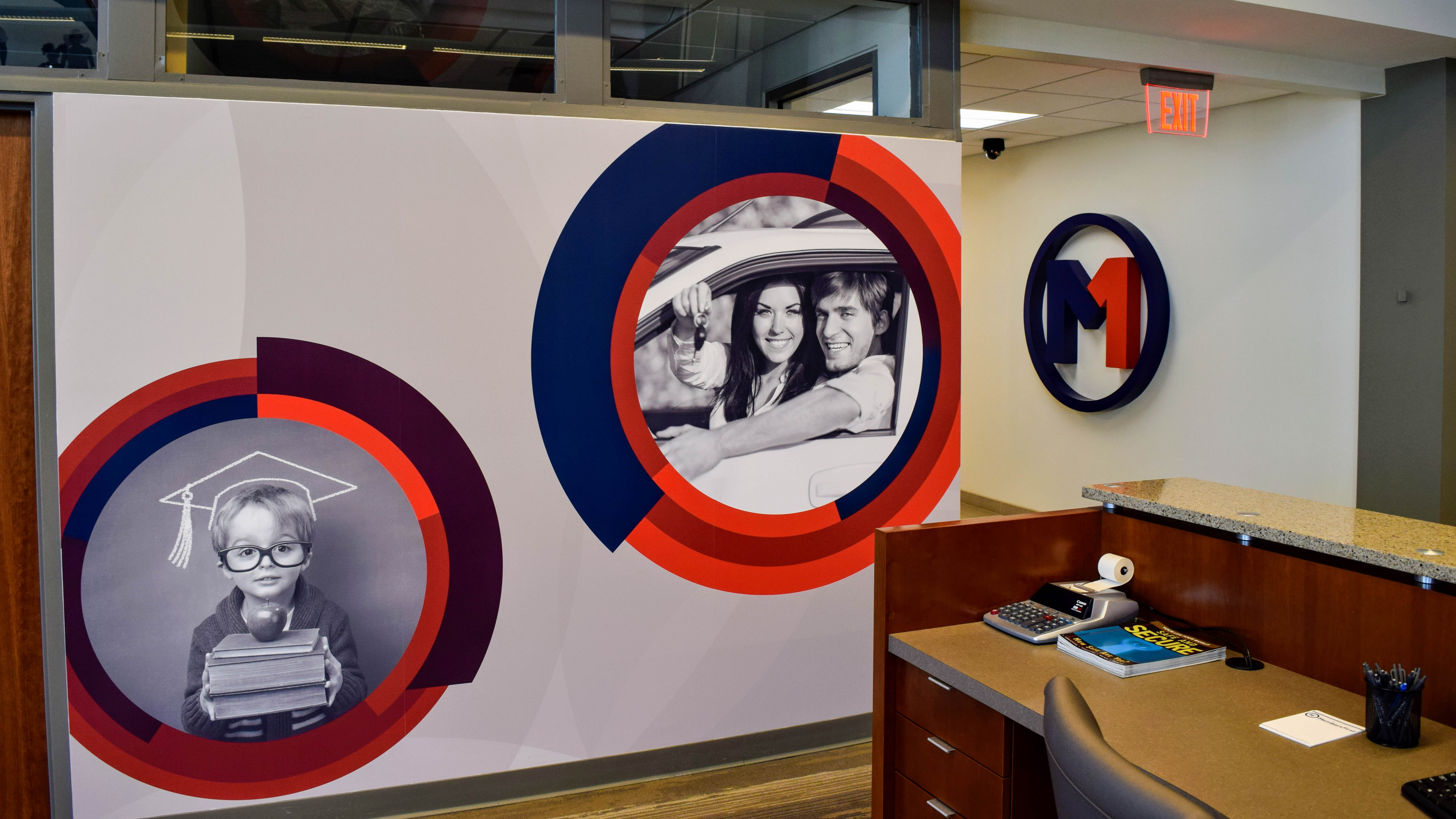 Branded interior at Members First Credit Union - signgeek Environmental Graphics and Dimensional Letters