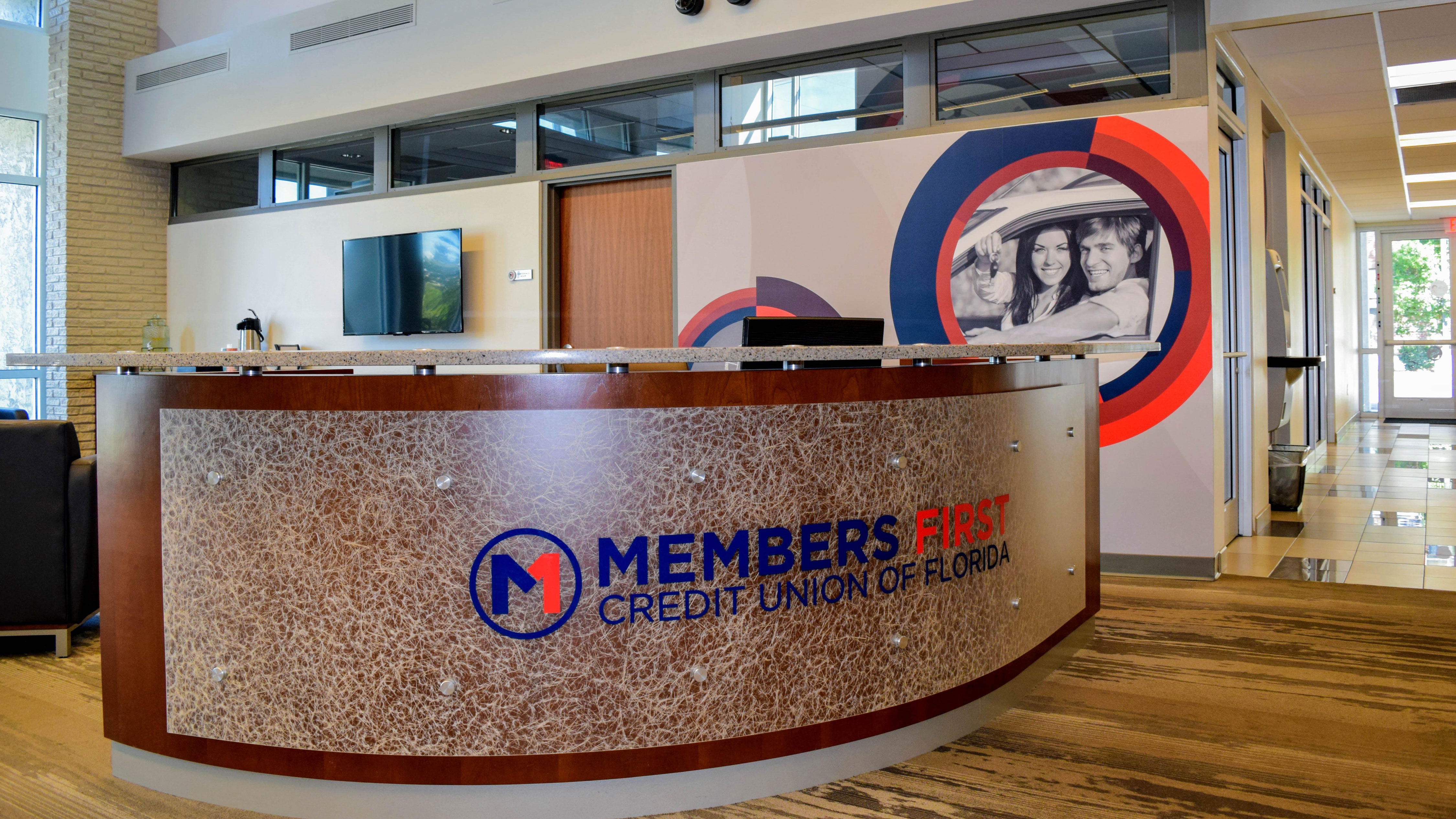 Branded environment at Members First Credit Union - signgeek Environmental Graphics and Signage