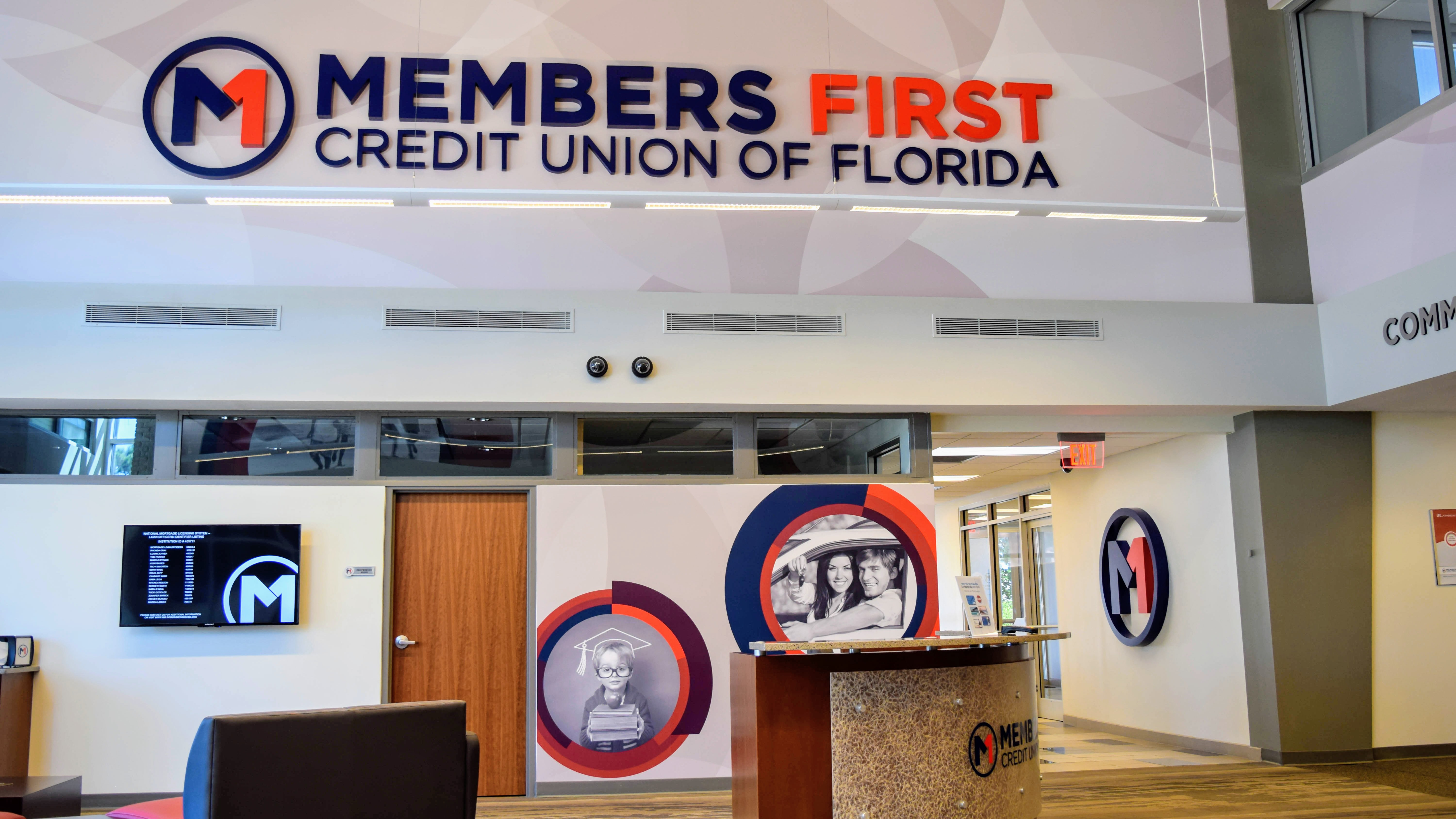 Branded environment at Members First Credit Union - signgeek Environmental Graphics