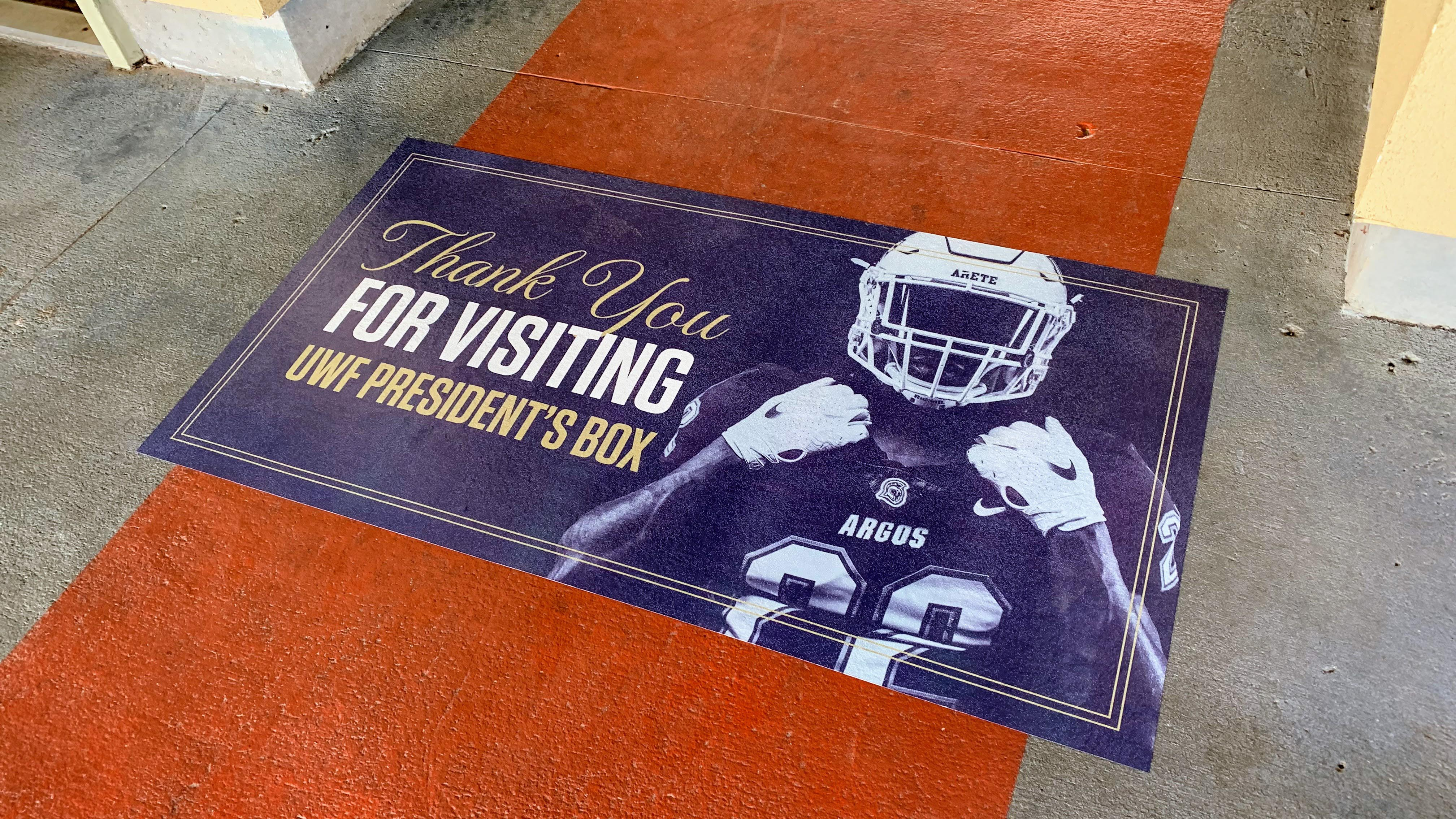 Flat graphics for UWF football President's Box - signgeek Environmental Graphics