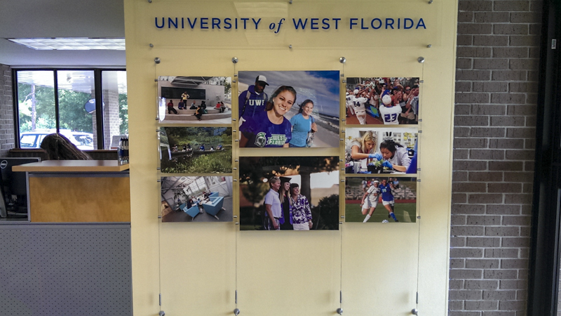 Signgeek Acrylic Posters - Suspended photo panels for University of West Florida