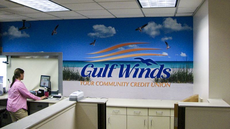 Gulf Winds FCU branded wall wrap - signgeek Environmental Graphics