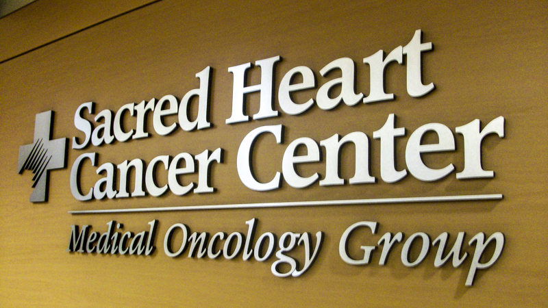 Sacred Heart Cancer Center branded interior dimensional lettering - signgeek Branded Environments