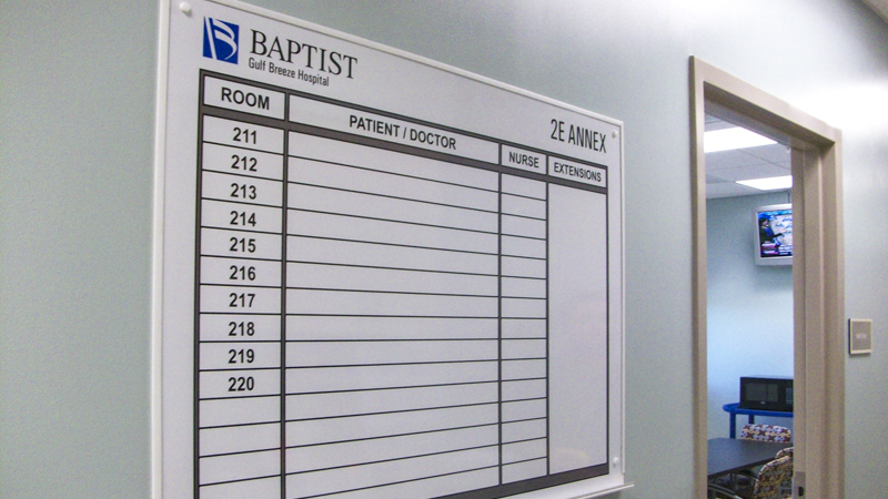 Baptist Hospital branded whiteboard - signgeek Branded Interiors
