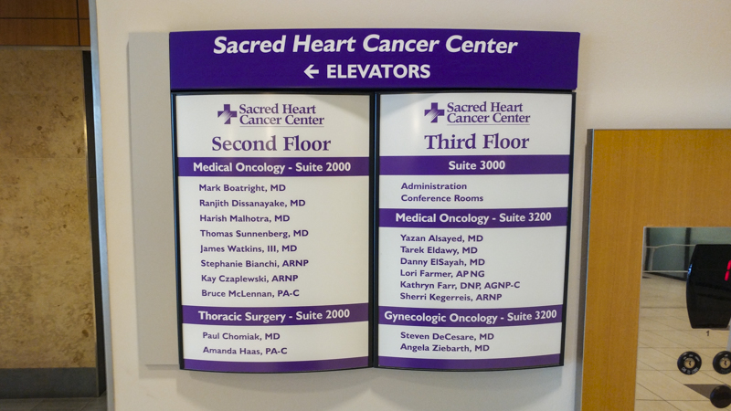 Interior wayfinding directory signage for Sacred Heart Cancer Center - Signgeek branded environments