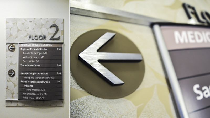 Interior wayfinding directory signage for Sacred Heart Hospital brand - Signgeek Branded Environments