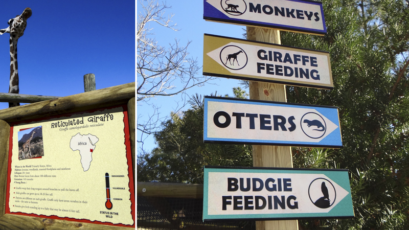 Exterior wayfinding for the Gulf Breeze Zoo - signgeek Branded Environments