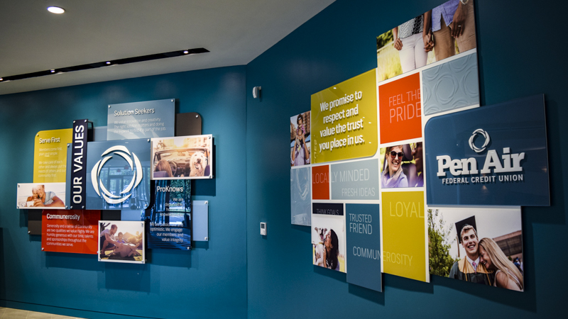 Branded company values wall for Pen Air FCU - signgeek Branded Environments