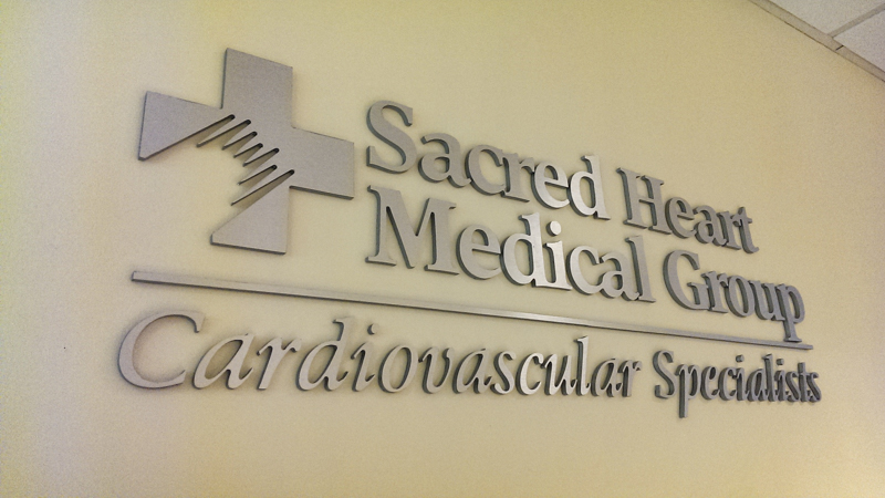 Branding interior letters for Sacred Heart Hospital - Signgeek Branded Environments