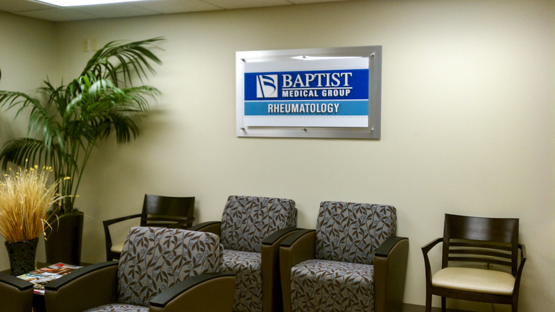 Brand identity sign for Baptist Medical Group in Rheumatology office - signgeek Branded Interiors