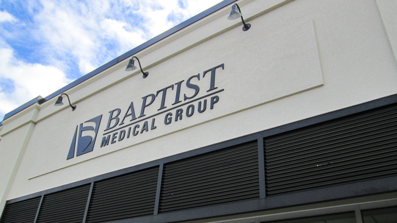 Exterior branded signage for Baptist Medical Group - signgeek Branded Spaces