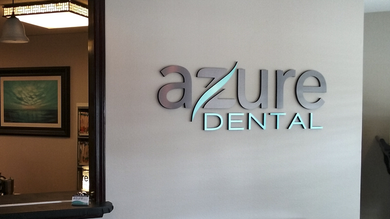 Interior Dimensional Letter Lobby Sign for Azure Dental