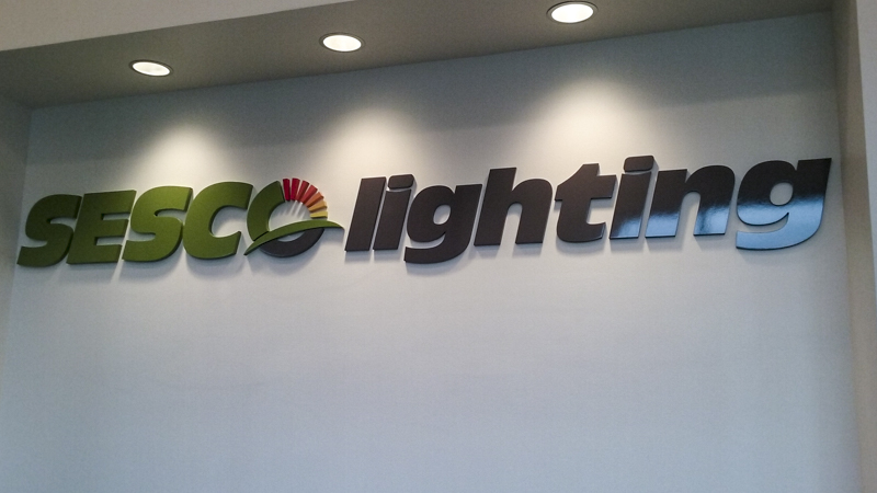 SignGeek Corporate Identity Signage - Interior lettering for Sesco Lighting