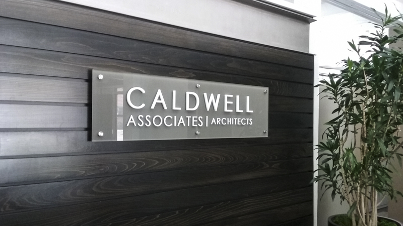 Acrylic Standoff Sign for Caldwell Associates