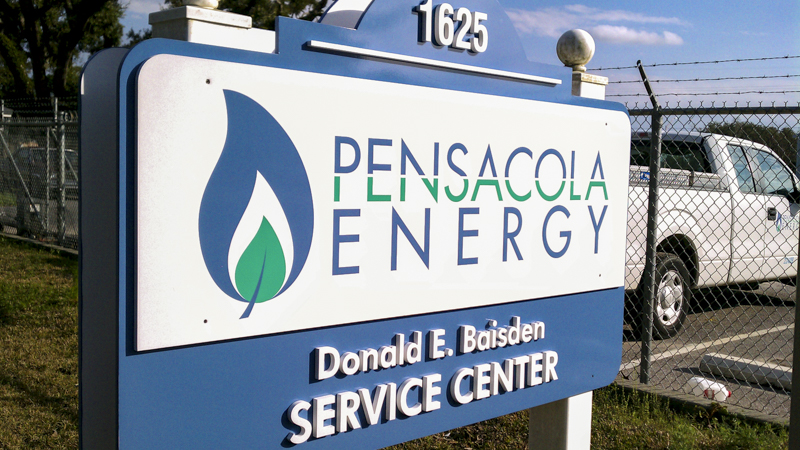 SignGeek Corporate Identity Signage - Pensacola Energy Service Center entrance signage