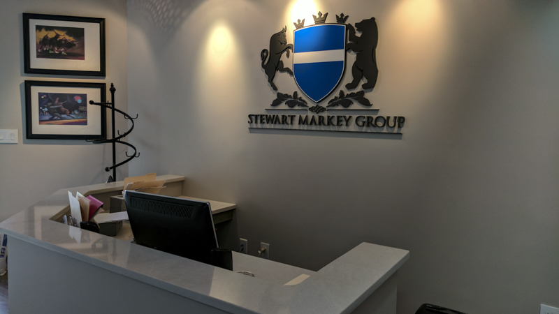 Interior Dimensional Sign Letters for Stewart Markey Group Lobby