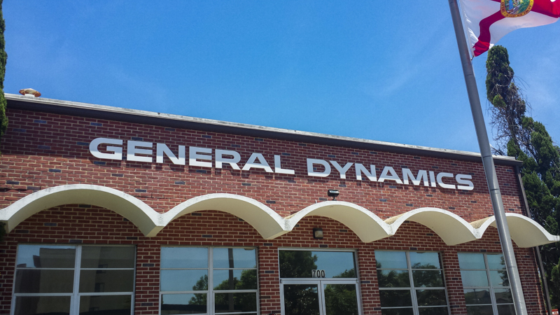 SignGeek Dimensional Letters and Logos - General Dynamics exterior dimensional signage