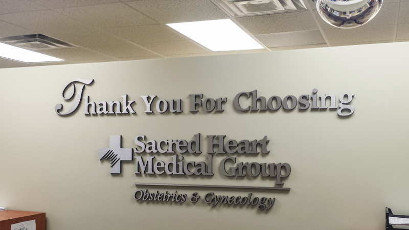 SignGeek Dimensional Letters and Logos - Sacred Heart Medical Group dimensional wall lettering