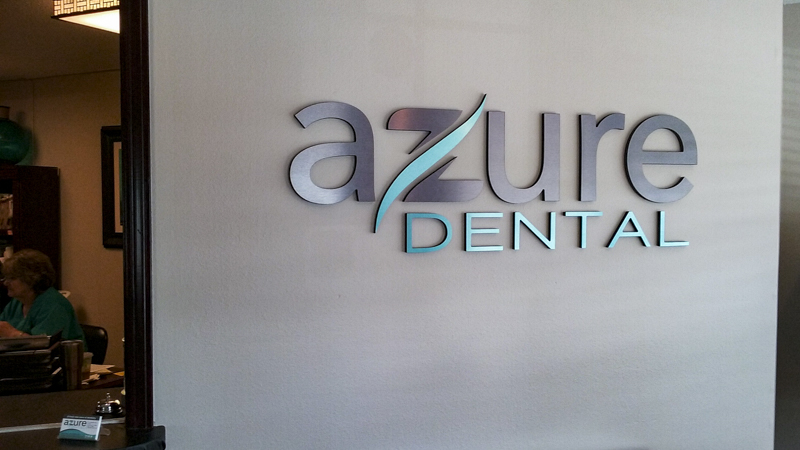 SignGeek Dimensional Letters and Logos - Azure Dental interior wall lettering