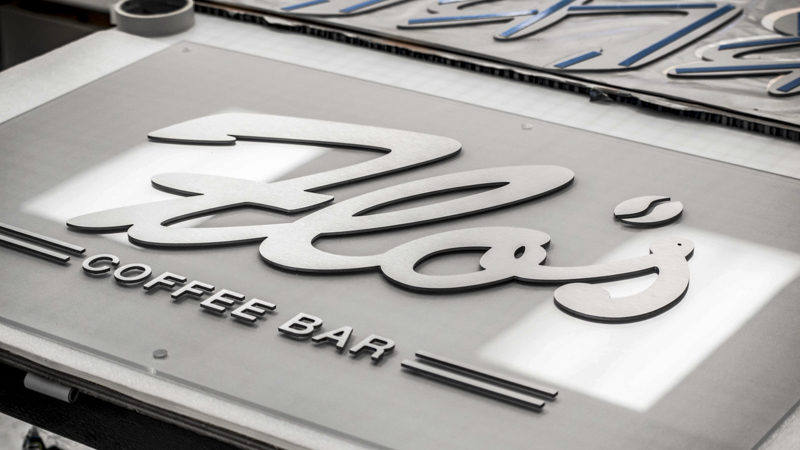 SignGeek Dimensional Letters and Logos - Dimensional lettered panel for Flo's Coffee Bar