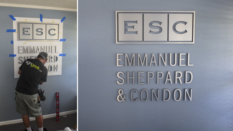SignGeek Dimensional Letters and Logos - Emmanuel Sheppard & Condon dimensional architectural signage