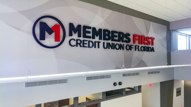 SignGeek Dimensional Letters and Logos - Interior architectural signage for Member's First Credit Union
