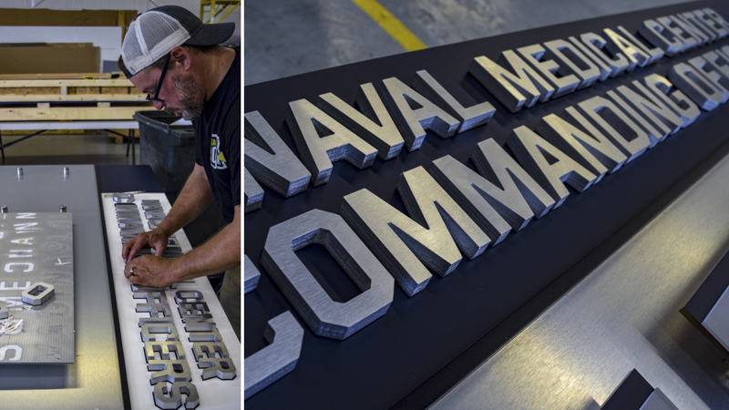 SignGeek Dimensional Letters and Logos - Commanding Leadership panel with dimensional lettering for Naval Hospital Camp Lejeune