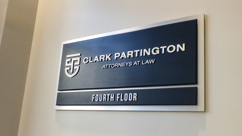 SignGeek Dimensional Letters and Logos - Wayfinding interior panel for Clark Partington