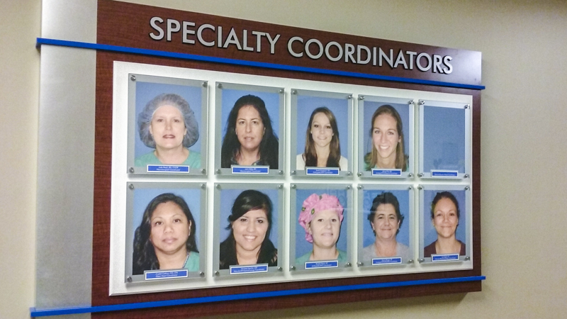 Specialty Coordinators Recognition Wall Display for Baptist Hospital
