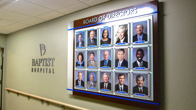 SignGeek Corporate and Employee Recognition - Board of Directors Display Panel for Baptist Hospital