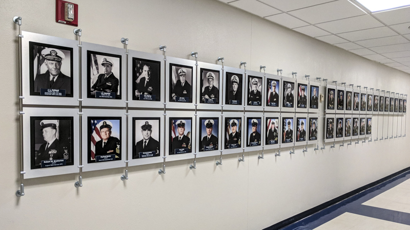 SignGeek Corporate and Employee Recognition - History of Leadership Display Panel for Naval Hospital Pensacola