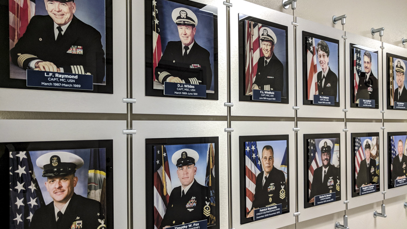 SignGeek Corporate and Employee Recognition - History of Leadership Wall Display for Naval Hospital Pensacola