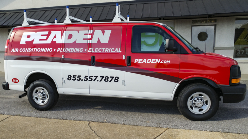 Fleet wrap on work van for Peaden - signgeek fleet wraps & graphics