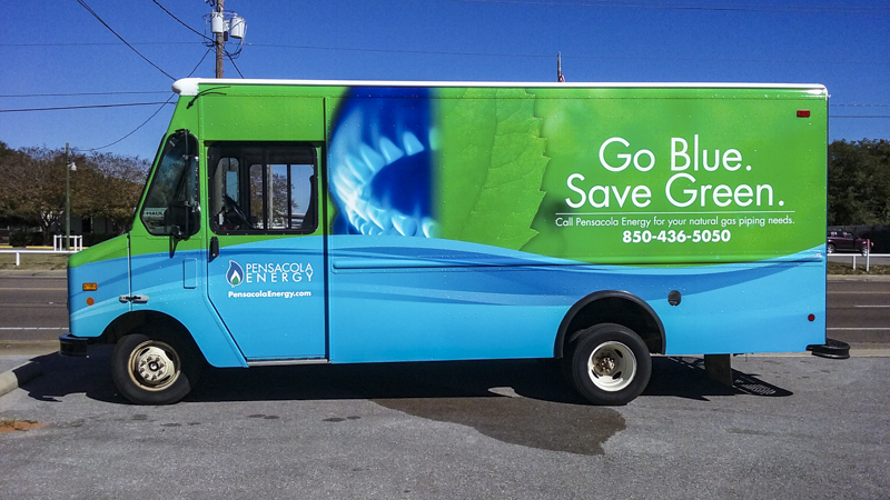 Fleet wrap on workvan for Pensacola Energy  - signgeek
