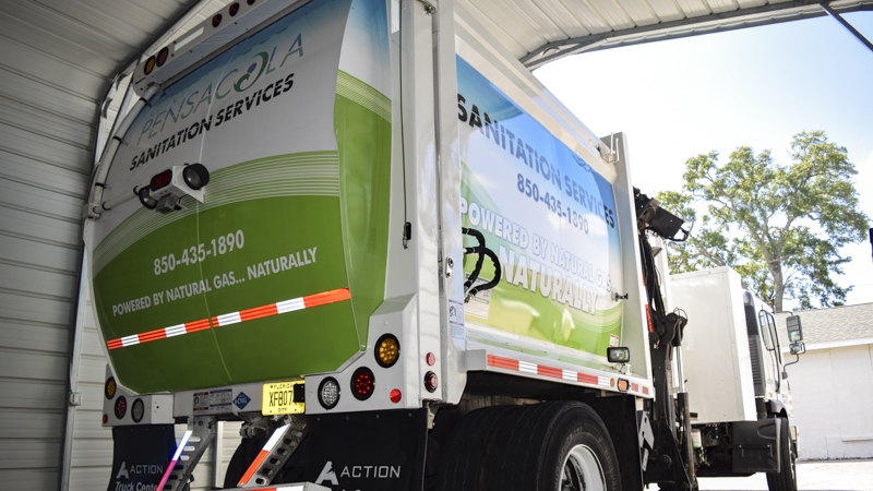 Garbage truck fleet graphics for Pensacola Sanitation - signgeek fleet wraps and graphics