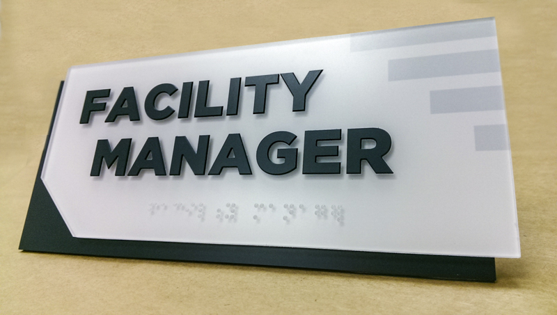 Interior ADA compliant wayfinding signage for Fresenius Medical Center. Fabricated and installed by Signgeek.