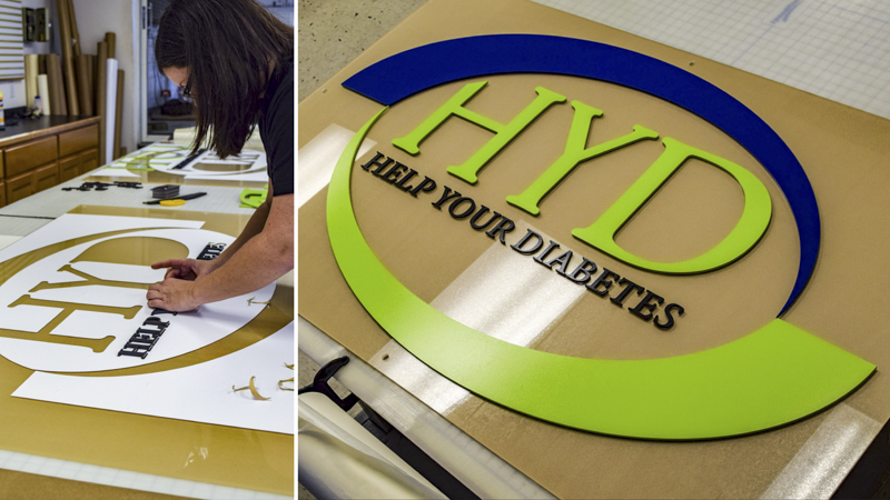 SignGeek Laser Cut Acrylic Letters - Dimensional laser cut letterforms for Help Your Diabetes