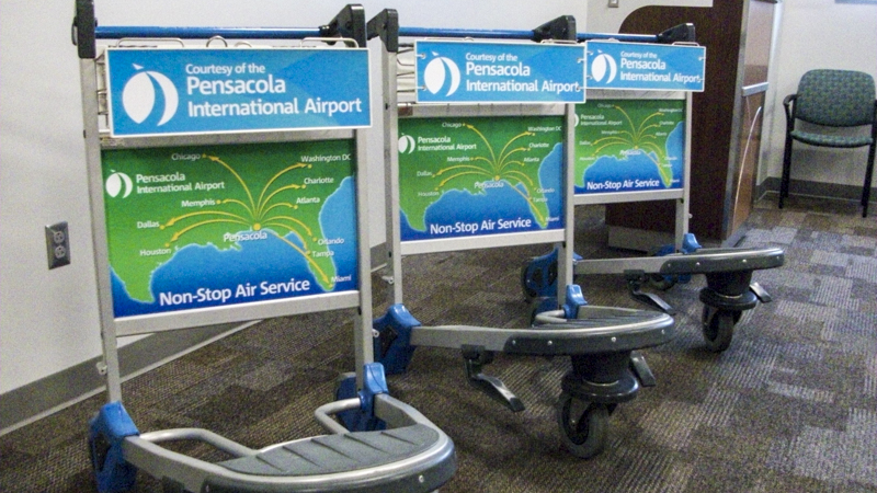 SignGeek Point of Purchase - Luggage carts for Pensacola International Airport