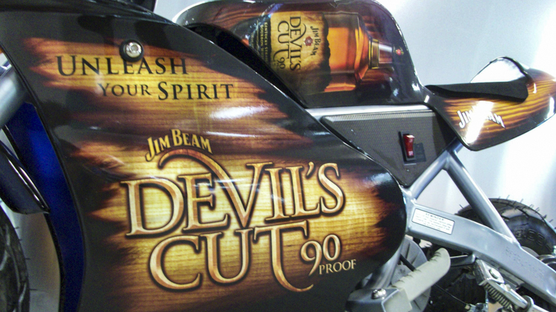 SignGeek Point of Purchase - Jim Beam mini motorcycle wrap