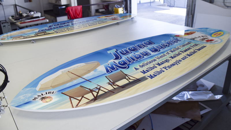 SignGeek Point of Purchase - Malibu Rum promotional surf boards