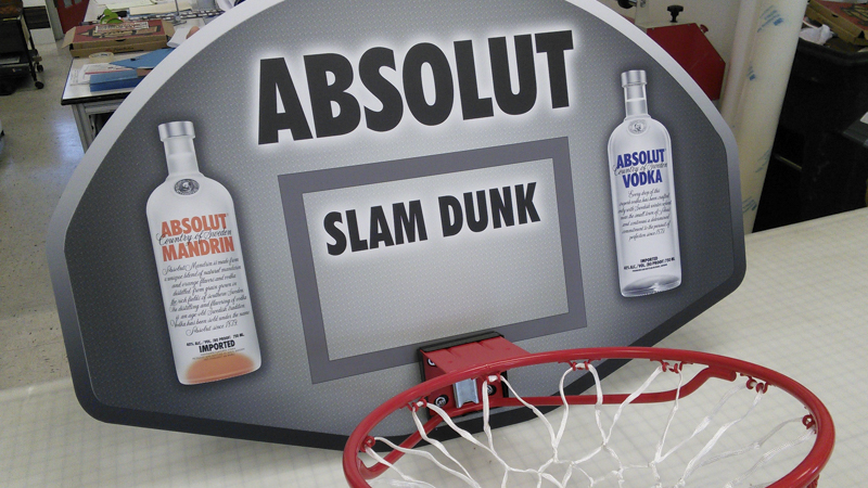 SignGeek Point of Purchase - Absolut Vodka wrapped basketball hoop