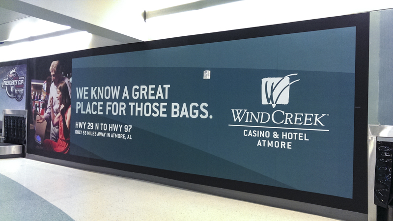 Interior wall wrap at Pensacola International Airport - Signgeek Environmental Graphics
