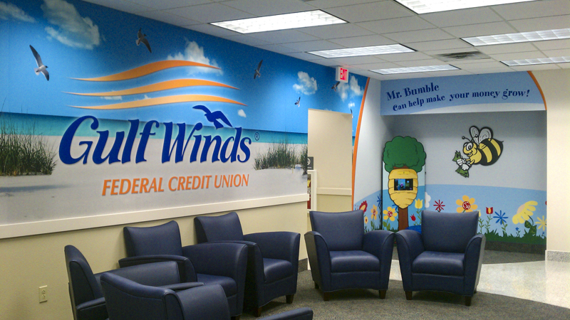 Gulf Winds FCU wall wrap and kids wall wrap with inset bumble bee - Signgeek Environmental Graphics