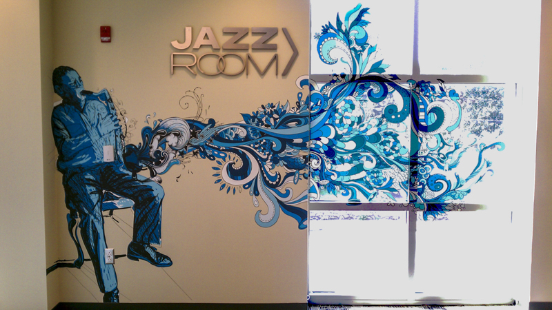 Jazz Room combination wall and glass graphics - signgeek Environmental Graphics