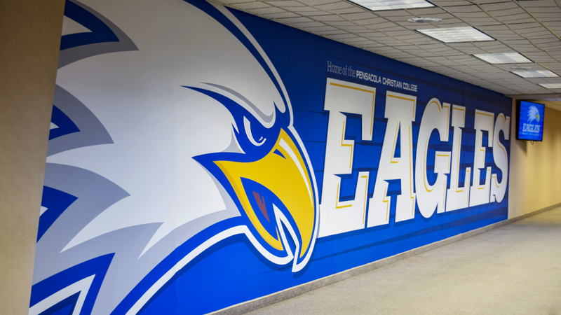 Pensacola Christian College interior wall wrap for the Eagles basketball team - signgeek Environmental Graphics