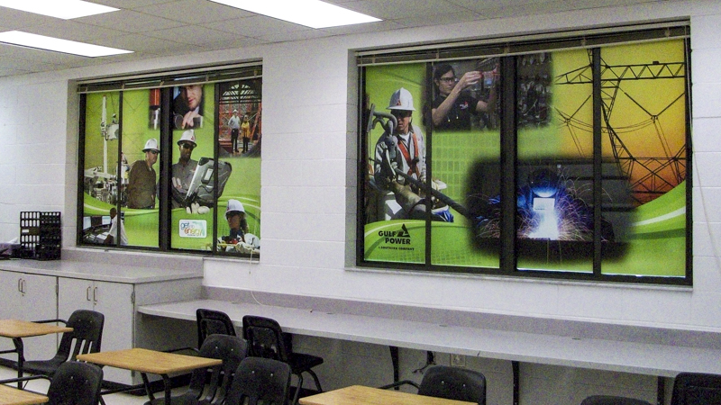 Security opaque window graphics for Gulf Power - Signgeek Environmental Graphics