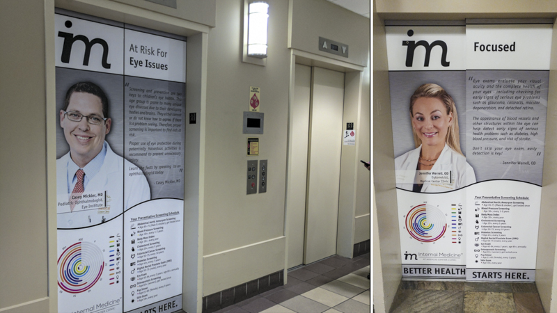 Elevator door wraps for Internal Medicine at Medical Center Clinic - signgeek environmental graphics